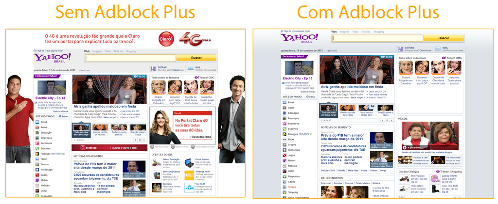 Yahoo page with and without Adblock Plus installed