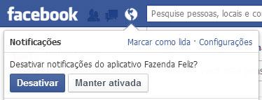 Área de Notificação do Facebook - Desativar Solicitação de Jogo