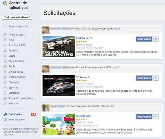 Facebook - Solicitações de Jogos