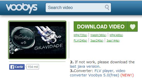 Voobys - Formatos dos Vídeos