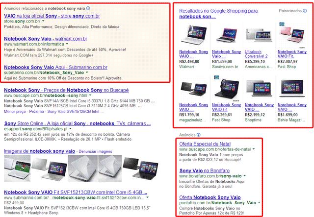 Google Shopping na Busca