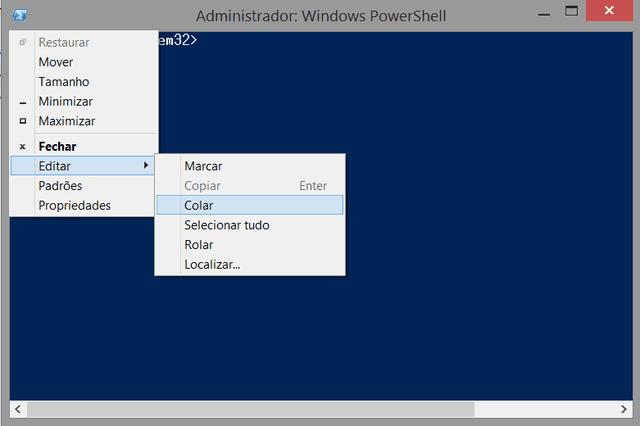 Colar no Windows PowerShell